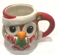 "Christmas Owl Ceramic Coffee Mug Cup 3 x 4"" Tall"