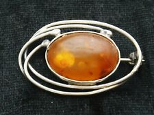Vintage Sterling Silver & Amber Brooch in an oval art nouveau style
