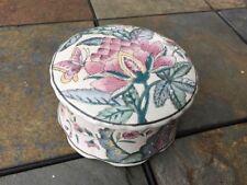 Vintage POWDER PUFF BOX Covered DISH Boudoir Boutique TOYO Charleston Garden ❤️