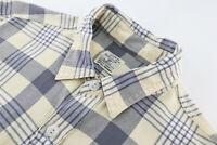 J. Crew Mens Medium Flannel Long Sleeve Button Up Shirt Plaid Cream Grey Cotton