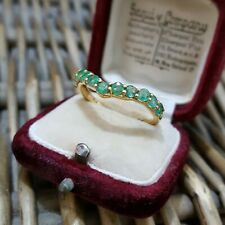 EMERALDS STERLING SILVER RING, WISHBONE RING, GOLD OVERLAY, SIZE T½