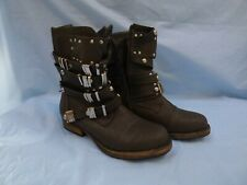 DOLCIS GREY ANKLE BIKER MILITARY BOOTS STUDED MULTI STRAPS  UK 4  EU 37