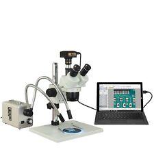 Trinocular 5X-10X-15X-20X-30X-60X 10Mp Usb3 Stereo Microscope+20W Dual Led Light