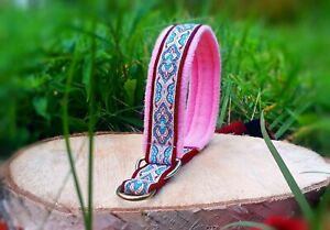 Ethnic tribal folkloric bohemian martingale dog collar pink cute collar eastern