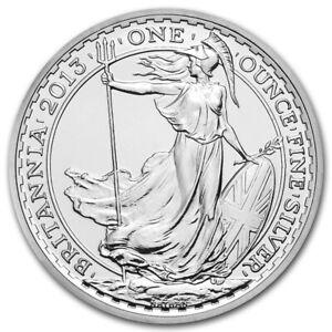 2013 Silver Britannia Coin 1 0unce Fine Silver Bullion  2 Pounds
