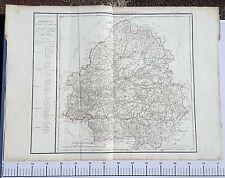 Dépt 24 - XIX ème Grande Carte Aquarellée de la Dordogne 78x56 cm de 1790 (1818)