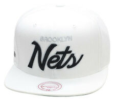 Mitchell & Ness Brooklyn Nets All WHITE/SCRIPT Snapback Hat jordan barons 9 1