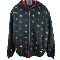 COOGI Black Multicolor Hooded Full Zip Sweatshirt Jacket Men's Size XXL