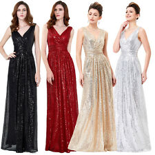 Premium Sequin Long Prom Dress Evening Party Pageant Bridesmaid Wedding Gowns