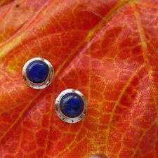 Lapislazuli, blau, rund, schlicht, Ohrringe, Ohrstecker, 925 Sterling Silber