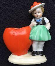 Vintage HANDGEMALT Hand Painted Porcelian Girl W/Heart Shaped Vase