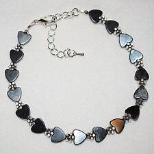 Black Magnetic Hematite Love Hearts Daisy Flower Boho Anklet / Ankle Bracelet