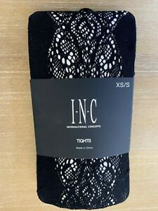 INC International Concepts Lace Pattern Tights Size XS/S Black Retail $14.99