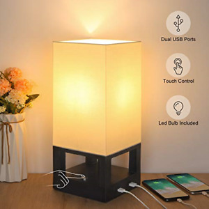 Bedside Touch Lamp with Dual USB Ports, Boncoo Dimmable Touch Control Nightstand