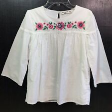 Abercrombie Kids White Floral Embroidered Blouse Girls Size 13-14