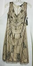 ADRIANNA PAPELL Dress Size 4 Web Bead Evening color mink Evening