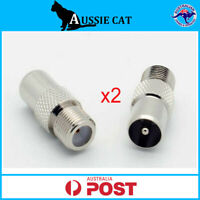 2 x F Type Female to PAL Male Socket Coaxial TV Antenna Cable Connector Adapter
