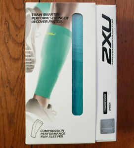 2XU Compression Calf Guards XL Turqoise Blue/Green Sleeves Running Recovery PWX