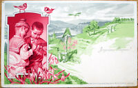 1903 Artist-Signed Easter Postcard: Boys & Easter Eggs - Color Litho