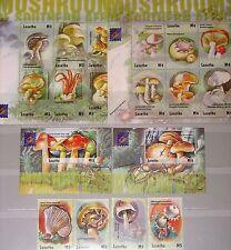 Lesoto 2001 1764-79 bloque 178-79 1282-89 Mushrooms hongos fungi flora mnh