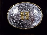 """Nocona Western Round Letter Silver Gold Belt Buckle Initial H """"H"""" S# 37572 NIB"""