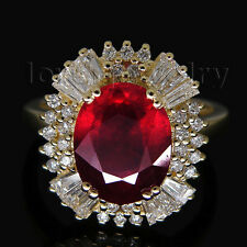 Jewelry Sete Solid 14K Yellow Gold Natural Brilliant Diamond Blood Ruby Ring