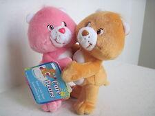 """7"""" Care Bears~ LOVE A LOT & TENDERHEART BEAR CUDDLE PAIRS HUGGING Plush Stuffed"""