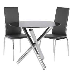 Glass Dinning Table & 2/4 Chairs Set Cafe/Kitchen/Bistro 2/4 Seater Cross Legs