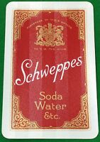 Playing Cards 1 Swap Card - Old Vintage SCHWEPPES Soda Water Etc Beverage Advert
