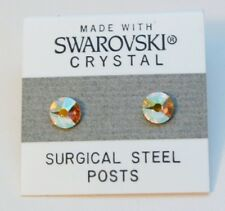 7mm Small Yellow Silver Crystal Circle Stud Earrings Made with SWAROVSKI ELEMENT