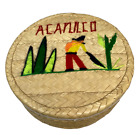 Acapulco woven basket with man and cactus- for mending or tortillas
