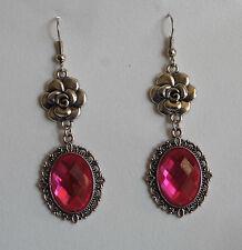 Camellia filigrana stile vittoriano rosa caldo placcato argento pendente orecchini gancio CFE