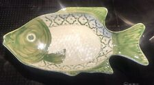 Traditional Thai Hand Painted Green And White Style Fish Serving Plate Ceramic