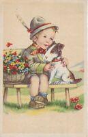 uralte AK Geburtstagskarte junger Bub mit Hund auf einer Bank //5