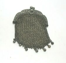 ANTIQUE CUT STEEL  MESH MISERS COIN  PURSE BEADED CHATELAINE