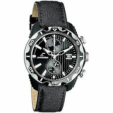 NEW Chronotech CT.7239M/02 Men's Black Textured Chronograph Sports Leather Watch