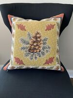 J. Pansu Paris Tapestry Pinecone Leaves Chestnuts Fall Autumn Decorative Pillow