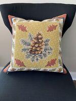 J. Pansu Paris Tapestry Pinecone Leaves Chestnuts Fall Autumn Decorative Pillow