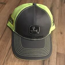 John Deere Gray Hat with Neon Green Back SnapBack One Size Fits Most Legend 100