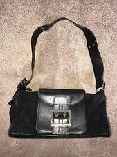 Vintage VERSACE Handbag - Black Leather & Suede Shoulder Bag Handbag - Medusa