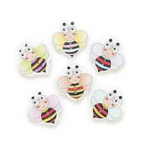 30pcs Insect Bee Wood Buttons for Sewing Scrapbooking Clothing Crafts Decor 24mm