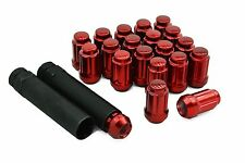 20 12x1.5 RED 6 Spline Tuner Lug Nuts + 2 Keys Fits Honda & Acura