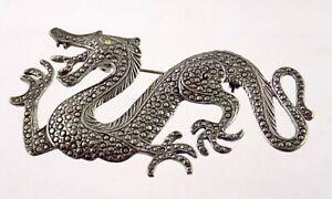 Vtg Silvertone Metal Faux Marcasite Dragon Pin Wingless Serpent Brooch Gem Eye