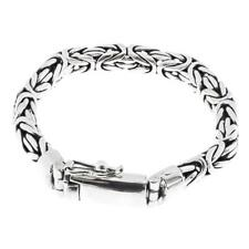 "8mm Mens Oval Byzantine Bali Handmade Chain 925 Sterling Silver Bracelet, 7-9"""