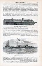 Navigation Sous-Marine 1865 gravures sur bois orig. Mortier flottant Le Plongeur