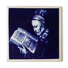 Antique Dutch Holland Victorian Ceramic Tile Flemish Portrait Reading Delft Blue