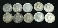 Lot 10 Kennedy Half Dollar 1/2 Roll US Coin 90% Silver XF/AU $5 Face 1964-D P
