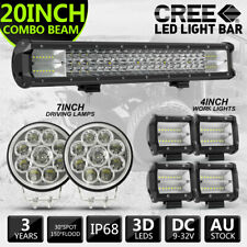 "Pair 7inch Round LED Spotlights Driving +1x 20"" LED LIGHT BAR +4x4"" FLOOD LIGHTS"