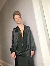 20's Vintage Black Silk Satin and lace dress wearable beautiful sm/medium RARE