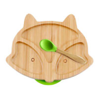 Wooden Baby Food Dish Plate Cartoon Fox Kid Eating Bowl Spoon Set Tableware R1BO